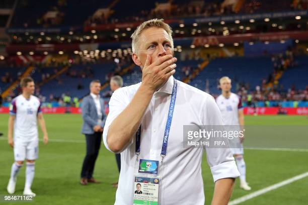 Heimir Hallgrimsson Manager of Iceland looks on after the 2018 FIFA World Cup Russia group D match between Iceland and Croatia at Rostov Arena on...