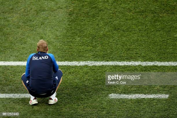 Heimir Hallgrimsson Manager of Iceland looks on during the 2018 FIFA World Cup Russia group D match between Nigeria and Iceland at Volgograd Arena on...