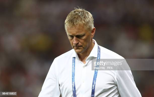 Heimir Hallgrimsson Manager of Iceland looks on during the 2018 FIFA World Cup Russia group D match between Iceland and Croatia at Rostov Arena on...