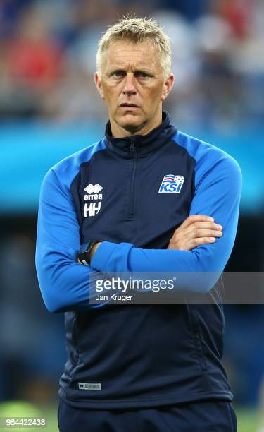 Heimir Hallgrimsson Manager of Iceland looks on during the warm up prior to the 2018 FIFA World Cup Russia group D match between Iceland and Croatia...