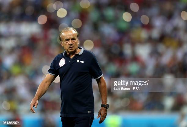 Heimir Hallgrimsson Manager of Iceland looks on following during the 2018 FIFA World Cup Russia group D match between Nigeria and Iceland at...