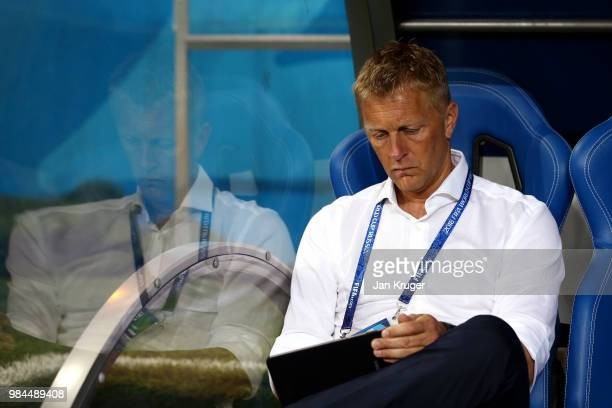 Heimir Hallgrimsson Manager of Iceland looks on prior to the 2018 FIFA World Cup Russia group D match between Iceland and Croatia at Rostov Arena on...