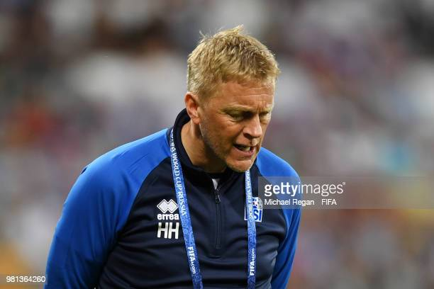 Heimir Hallgrimsson Manager of Iceland reacts during the 2018 FIFA World Cup Russia group D match between Nigeria and Iceland at Volgograd Arena on...