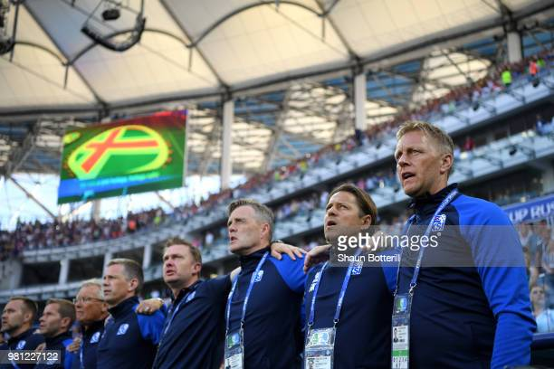 Heimir Hallgrimsson Manager of Iceland sings the national anthem during the 2018 FIFA World Cup Russia group D match between Nigeria and Iceland at...