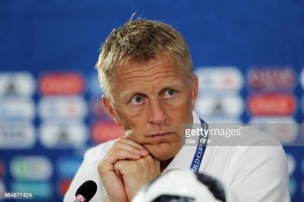 Heimir Hallgrimsson Manager of Iceland speaks to the media in a press conference following the 2018 FIFA World Cup Russia group D match between...