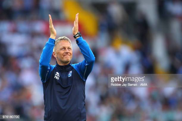 Heimir Hallgrímsson head coach / manager of Iceland salutes the fans at the end of the 2018 FIFA World Cup Russia group D match between Argentina and...