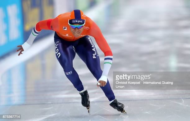 Hein Otters peer of the Netherlands competes in the first men 500m Division A race during Day 1 of the ISU World Cup Speed Skating at Soermarka Arena...