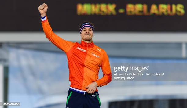 Hein Otterspeer celebrates winning the men's 500m Final during the ISU World Cup Speed Skating Final at Speed Skating Arena on March 17 2018 in Minsk...
