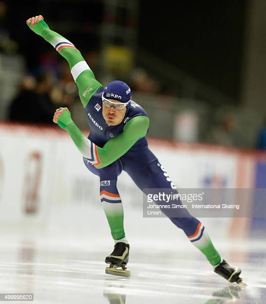 Hein Otterspeer of Netherlands competes in the men 500m heats during Day 1 of the ISU Speed Skating World Cup at the Max Aicher Arena on December 4...