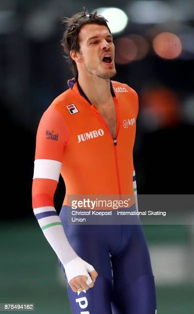 Hein Otterspeer of the Netherlands celebrates after he first men 500m Division A race during Day 1 of the ISU World Cup Speed Skating at Soermarka...