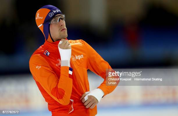 Hein Otterspeer of the Netherlands competes during the first men 500m Division A race on Day One during the ISU World Cup Speed Skating at the Thialf...