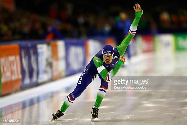 Hein Otterspeer of the Netherlands competes in the Division A 2nd 500m Mens race on day three of the ISU World Cup Speed Skating held at Thialf Ice...