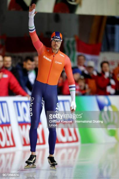 Hein Otterspeer of the Netherlands competes in the first men 500m Division A race during Day 1 of the ISU World Cup Speed Skating at...