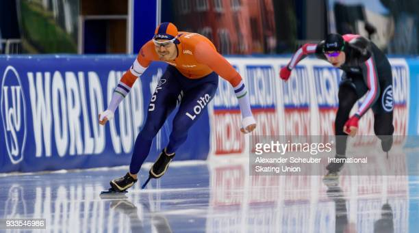 Hein Otterspeer of the Netherlands competes in the Men's 500m 2nd race during the ISU World Cup Speed Skating Final Day 2 at Speed Skating Arena on...