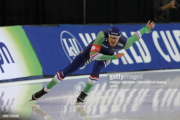 Hein Otterspeer of the Netherlands competes in the Men's 500m on day one of the ISU World Cup Speed Skating Salt Lake City event at the Utah Olympic...