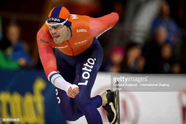 Hein Otterspeer of the Netherlands competes in the second men 1000m Division A race during Day 3 of the ISU World Cup Speed Skating at...
