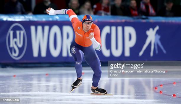 Hein Otterspeer of the Netherlands competes in the second men 500m Division A race during Day 2 of the ISU World Cup Speed Skating at Soermarka Arena...