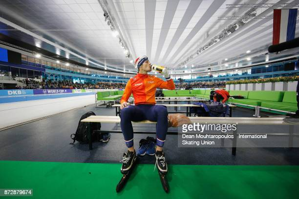 Hein Otterspeer of the Netherlands gets ready to compete in the Mens 500m race on day two during the ISU World Cup Speed Skating held at Thialf on...