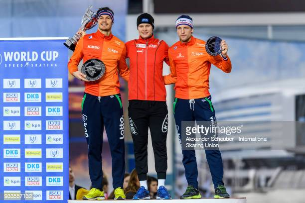 Hein Otterspeer of the Netherlands Havard Holmefjord Lorentzen of Norway and Ronald Mulder of the Netherlands stand on the podium after the Overall...