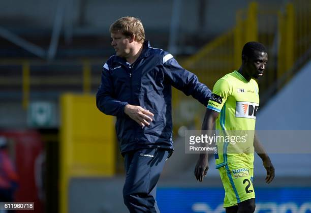 Hein Vanhaezebrouck Headcoach of KAA Gent and Nana Asare defender of KAA Gent disappointed pictured during Jupiler Pro League match between Club...