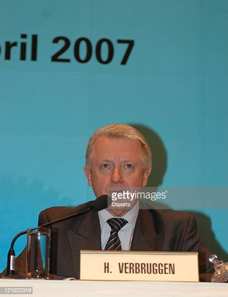 Hein Verbruggen chairman of Coordination Commission of International Olympic Committee attends a press conference during the SportAccord 2007 opens...