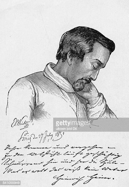 Heine Heinrich *1312179717021856Schriftsteller DeutschlandPorträt in seinen Krankheitsjahren Zeichnung von Ernst Benedikt Kietz1852