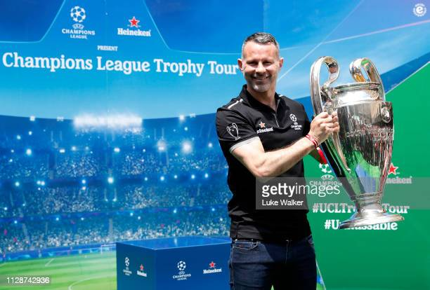 Heineken® Ambassador Ryan Giggs with the UEFA Champions League Trophy during the UEFA Champions League Trophy Tour presented by Heineken® in...