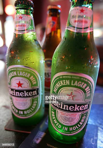 Heineken and Amstel Light beer bottles are arranged inside the Subway Inn bar in New York Tuesday July 18 2006 Heineken NV Europe's thirdlargest...