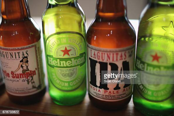Heineken and Lagunitas beer is pictured on May 4, 2017 in Chicago