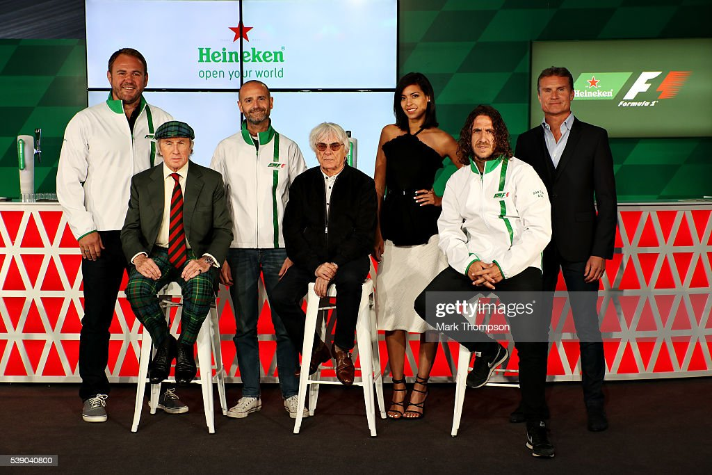 Heineken announces global partnership with Formula One Management. F1 supremo Bernie Ecclestone, centre, joins Gianluca Di Tondo, Senior Director Global Heineken Brand and Heineken ambassadors (left to right) Scott Quinnell, Sir Jackie Stewart, Stephanie Sigman, Carles Puyol and David Coulthard during previews to the Canadian Formula One Grand Prix at Circuit Gilles Villeneuve on June 9, 2016 in Montreal, Canada.