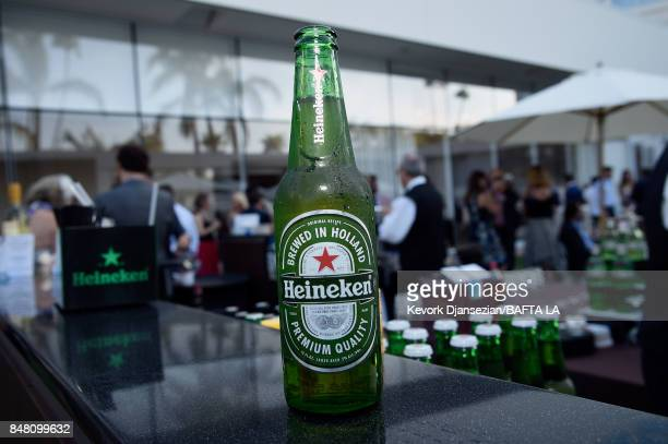 Heineken beer is displayed at the BBC America BAFTA Los Angeles TV Tea Party 2017 at The Beverly Hilton Hotel on September 16 2017 in Beverly Hills...
