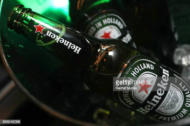 Heineken bottles on display at a celebration of music with Republic Records in partnership with Absolut and Pryma at Catch LA on February 12 2017 in...