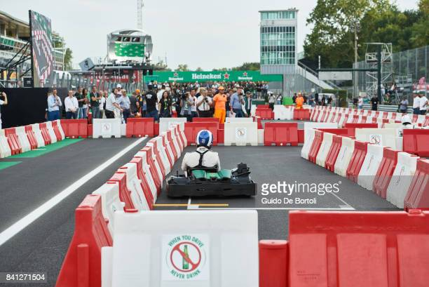 Heineken Brand Ambassador David Coulthard drives a gokart during the Heineken Champions of the Grid gokart race ahead of the Formula One Grand Prix...