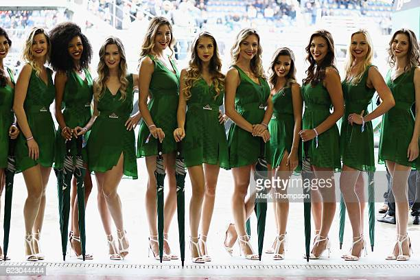 Heineken grid girls before the Formula One Grand Prix of Brazil at Autodromo Jose Carlos Pace on November 13 2016 in Sao Paulo Brazil