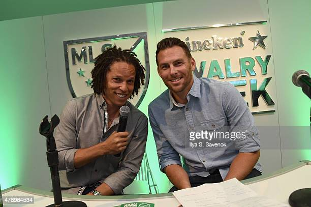 Heineken House hosts formerMLS players Cobi Jones And Brian Dunseth at the official NYCFC v NY Red Bulls watch party for MLS Heineken rivalry week on...