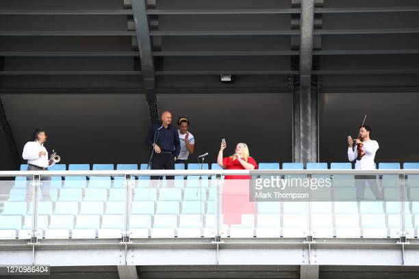 Heineken Italian balcony performers sing the national anthem before the F1 Grand Prix of Italy at Autodromo di Monza on September 06, 2020 in Monza,...