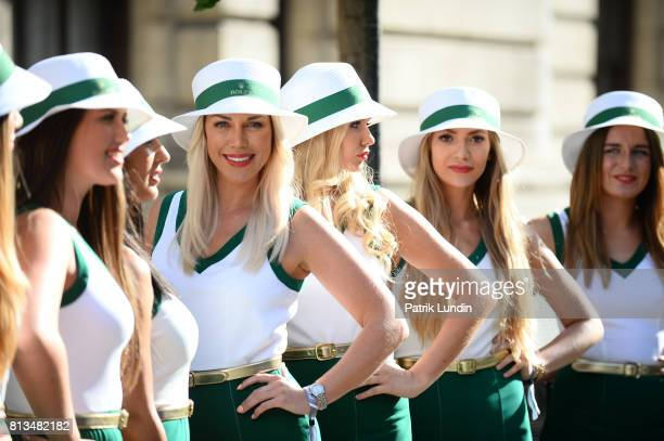 Heineken promotional girls during F1 Live London at Trafalgar Square on July 12 2017 in London England F1 Live London the first time in Formula 1...