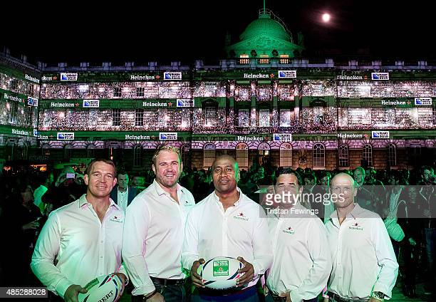 Heineken Rugby Legends John Smit Scott Quinnell Jonah Lomu Will Carling and Matt Dawson open Rugby World Cup 2015 at Somerset House to celebrate...