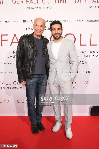 Heiner Lauterbach and Elyas M'Barek attend the Der Fall Collini premiere at Cinedome on April 18 2019 in Cologne Germany