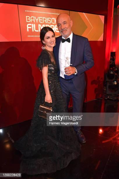 Heiner Lauterbach and his wife Viktoria Lauterbach attend the Bayerischer Filmpreis 2020 at Prinzregententheater on January 17 2020 in Munich Germany