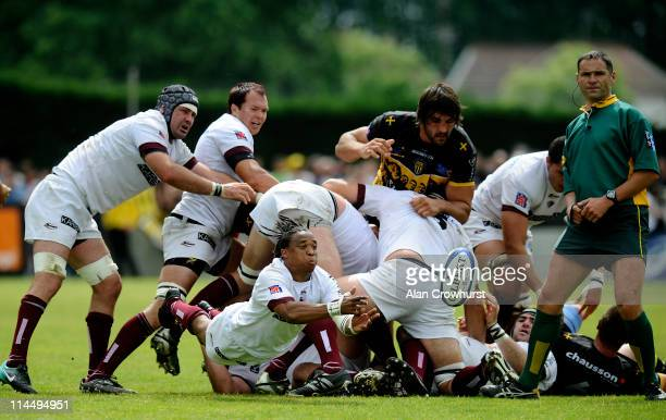 Heini Adams of Bordeaux clears from a ruck during the Pro D2 playoff final between Sporting Club Albigeois and Union BordeauxBegles at Stade Armandie...