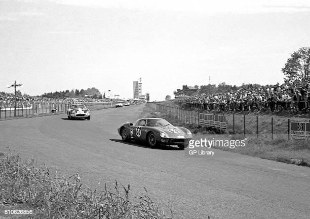Heini Walter driving a Ferrari 250LM 14th and Carlos Gaspar driving a Ferrari 275GTB/C at Nurburgring 1000Ks