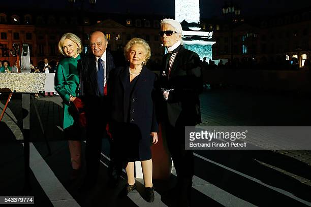 Heini Wathen Mohamed AlFayed Bernadette Chirac and Karl Lagerfeld attend the Colonne Vendome Is Unveiled After Restoration Works on June 27 2016 in...