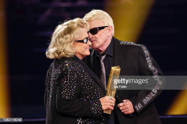 Heino and his wife Hannelore Kramm during the television show 'Schlagerchampions Das grosse Fest der Besten' at Velodrom on January 12 2019 in Berlin...