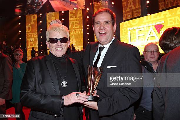 Heino and manager Jan Mewes with award attend the LEA Live Entertainment Award 2014 at Festhalle Frankfurt on March 11 2014 in Frankfurt am Main...