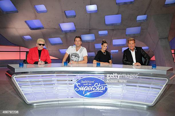 Heino DJ Antoine Mandy Capristo and Dieter Bohlen attend the 'Deutschland sucht den Superstar' jury photocall on October 7 2014 in Cologne Germany