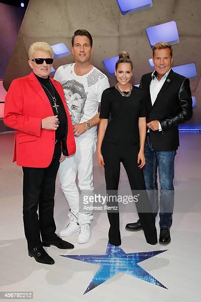 Heino DJ Antoine Mandy Capristo and Dieter Bohlen attend the 'Deutschland sucht den Superstar' jury photocall on October 7 2014 in Cologne Germany