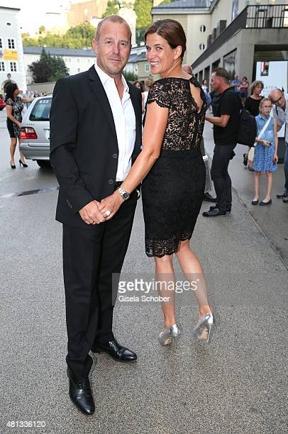 Heino Ferch and his wife Marie Jeanette Ferch attend the premiere of 'Jedermann' during the Salzburg Festival 2015 on July 19, 2015 in Salzburg,...