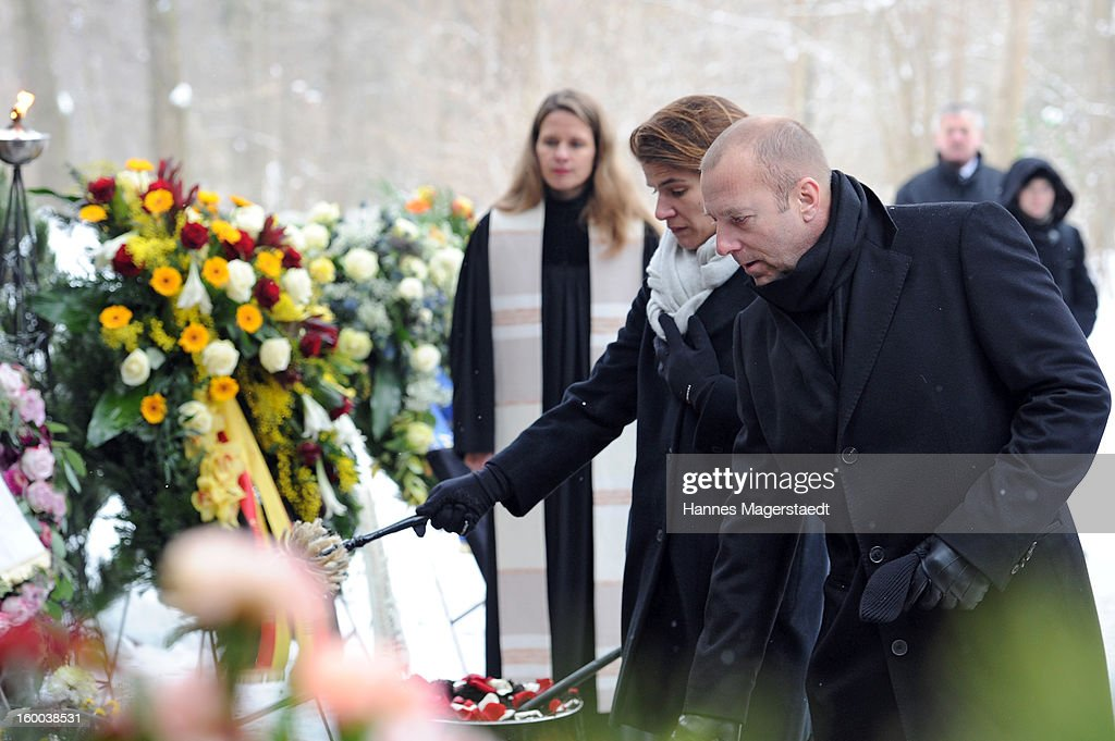 Heino Ferch and his wife Marie-Jeanette attend the memorial service for Steffen Kuchenreuther at the Waldfriedhof on January 25, 2013 in Munich, Germany.