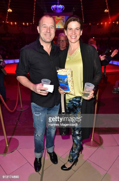 Heino Ferch and his wife MarieJeanette Ferch during Circus Krone celebrates premiere of 'Hommage' at Circus Krone on February 1 2018 in Munich Germany